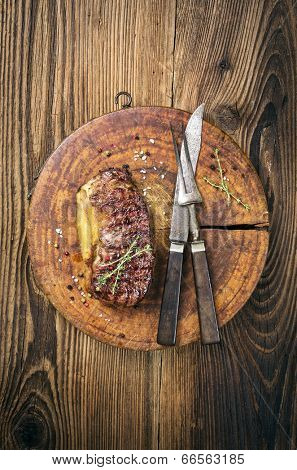 steak on the old board