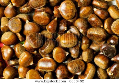 Many Chestnuts Arranged At The Background