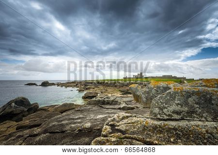 Coastal landscape with a fortress