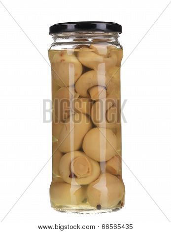 Mushrooms marinaded (champignons) in glass jar