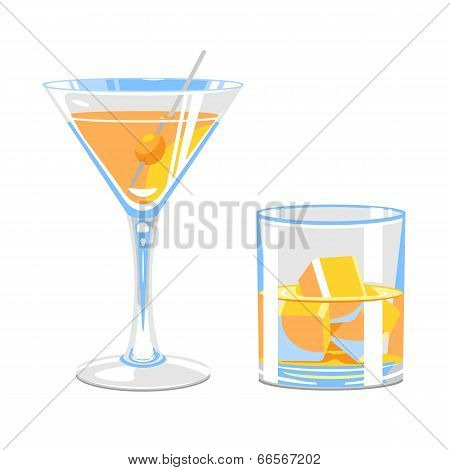 Glass Of Martini And Whiskey