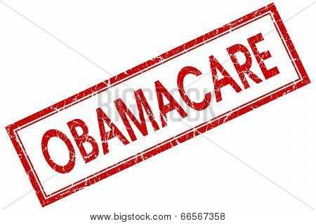 Obamacare Red Square Grungy Stamp Isolated On White Background