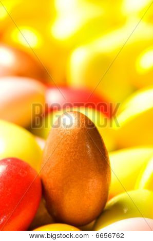 Chocolate Eggs Of Various Colours - Shallow Dof