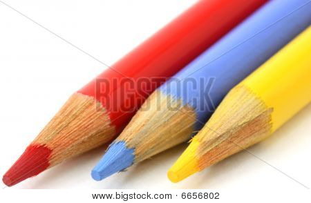 Pencil crayons, red, blue yellow primary colors