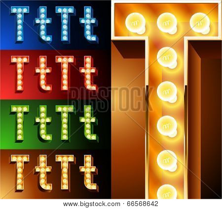 Ultimate realistic lamp board alphabet. Condensed style. Left and right options. Multicolored. Letter t