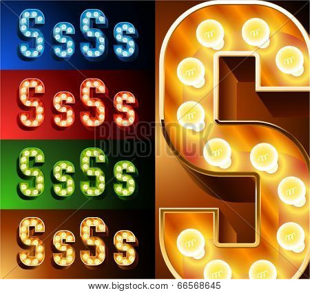 Ultimate realistic lamp board alphabet. Condensed style. Left and right options. Multicolored. Letter s