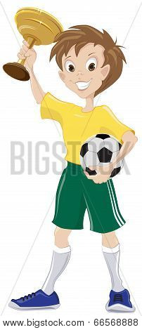 Happy soccer fan holds cup and ball