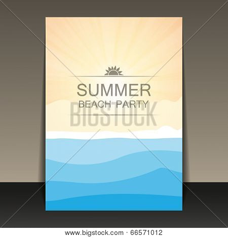 Abstract Summer Party Flyer, Card or Cover Template - Vector Design Concept