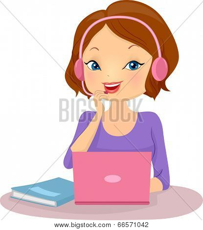 Illustration of a Female Tutor Teaching a Foreign Language Online