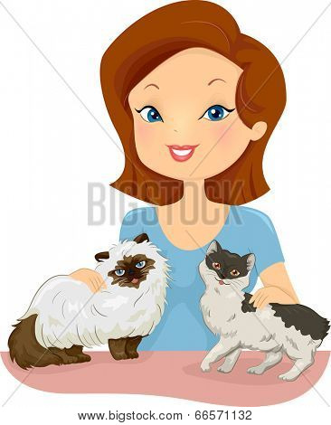 Illustration of a Pretty Woman Petting Cats