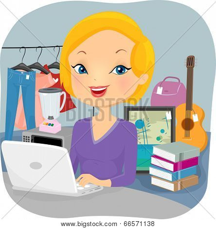 Illustration of a Female Online Seller Conducting Business from Home