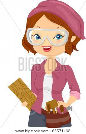 Illustration of a Girl Carrying Wood Carving Materials
