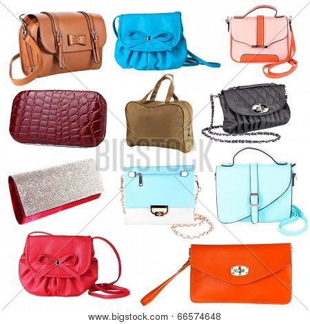 Collage of women's bags isolated on white