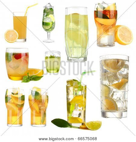 Collage of cold lemonade isolated on white