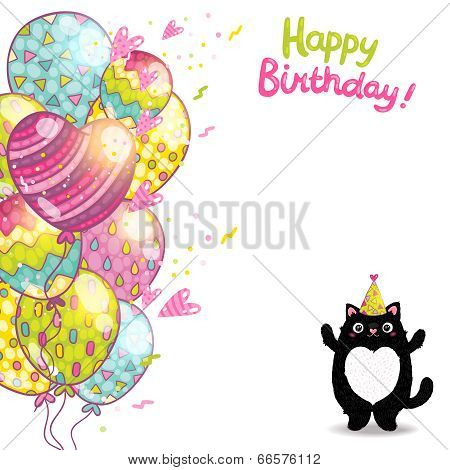 Happy Birthday Card Background With A Cat.