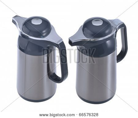 Thermo flasks on the white background