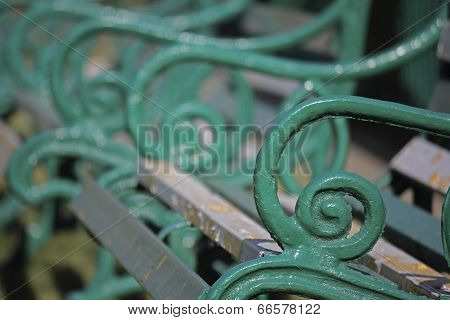 Close Up Of Metal Garden Bench Design