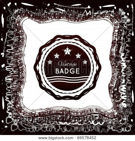 Vintage badge on an abstract background of jagged line