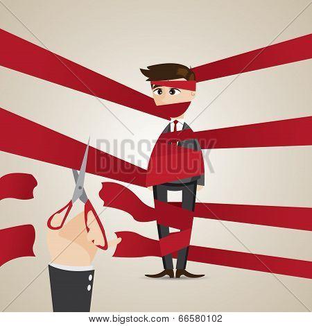 Cartoon Wrapping Businessman Get Help