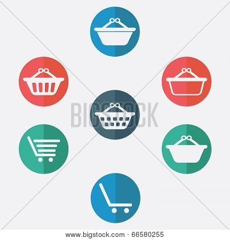 shopping basket icon - stock illustation