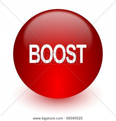 boost red computer icon on white background