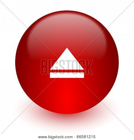 eject red computer icon on white background