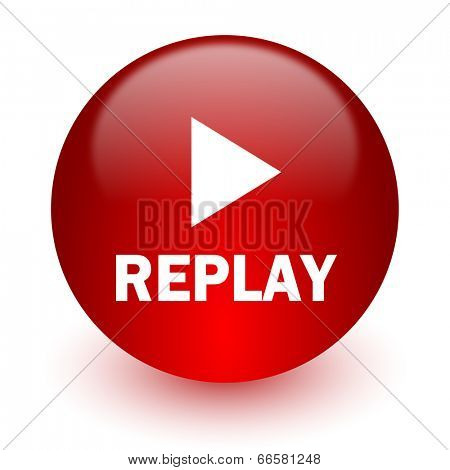 replay red computer icon on white background