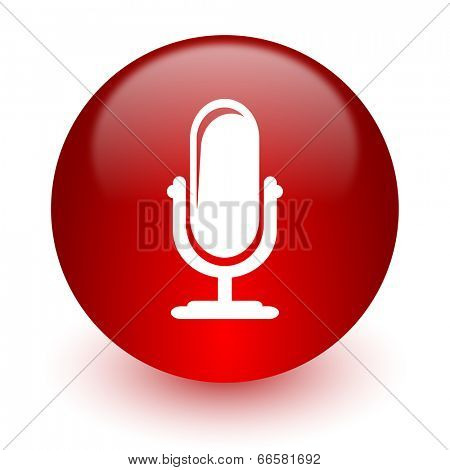microphone red computer icon on white background