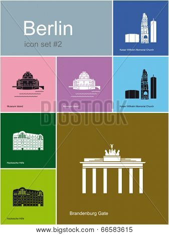 Landmarks of Berlin. Set of flat color icons in Metro style. Raster image