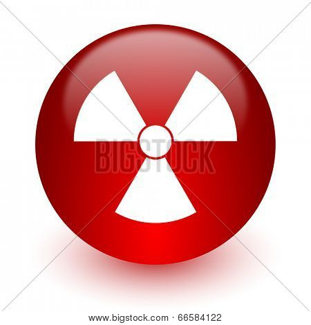 radiation red computer icon on white background