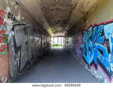The tunnel with graffiti