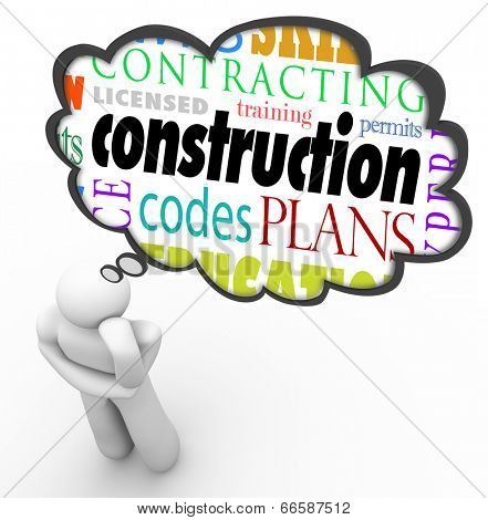 Construction words thought cloud thinking person licensed, training, codes, plan, permits