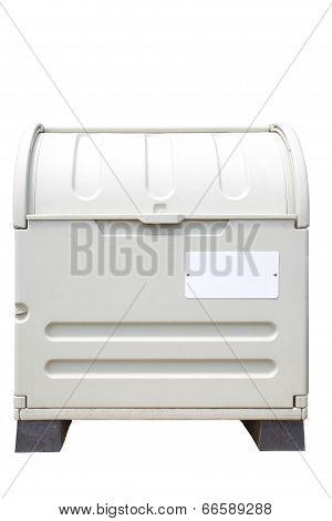 New white plastic litter bin on white background