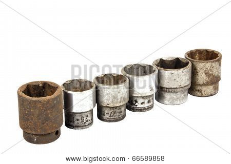 Set Of Six Rusted And  Well Worn Sockets