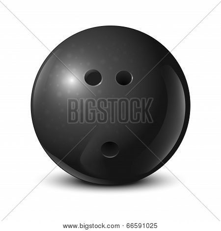 Bowling Ball With Texture Isolated On White Background. Vector Illustration