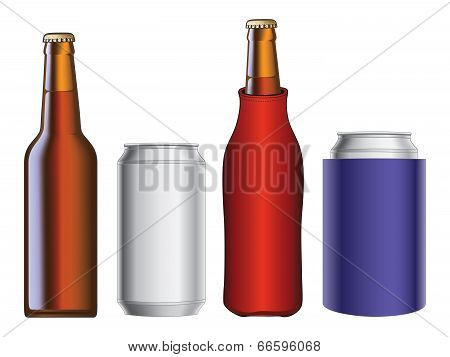 Beer Bottle And Can With And Without Cooler