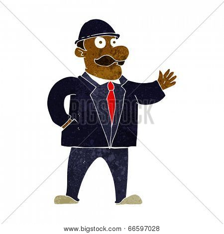 cartoon sensible businessman in bowler hat