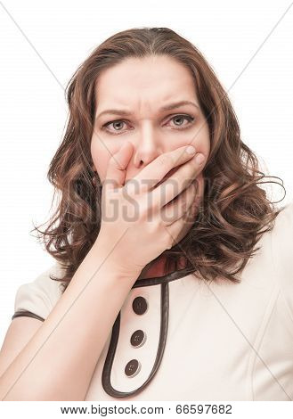 Scared Plus Size Woman Closed Mouth By Hand