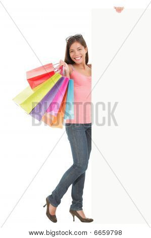 Shopping Woman With Sign