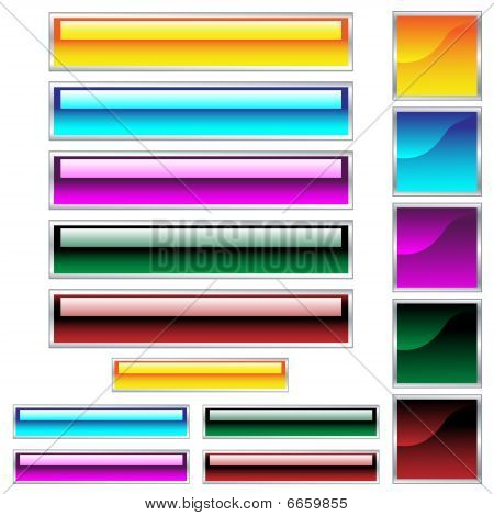 Web buttons, shiny rectangles and squares in assorted colors