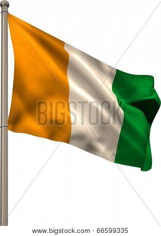 Ivory coast national flag on flagpole on white background