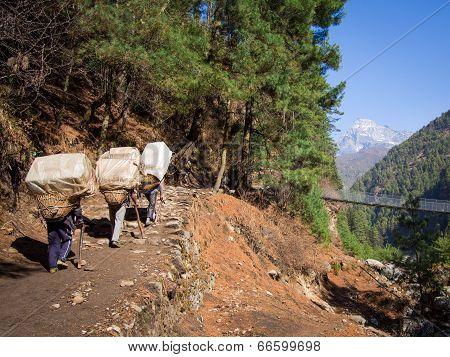 Unrecognizable Sherpa Porters Walking Uphill, Everest Region, Nepal