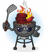 stock photo of ember  - A hot barbecue grill cartoon character with sunglasses and a spatula - JPG