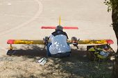 image of hydroplanes  - Radio controlled Hydroplane been fixed on Guadiana riverside Badajoz Spain