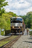 image of trestle bridge  - Train Crossing The Railroad Trestle At Letchworth State Park In New York - JPG
