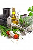 pic of blender  - Blender with fresh vegetables and herbs - JPG
