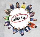 stock photo of follow-up  - Group of Diverse People In a Circle Inviting - JPG