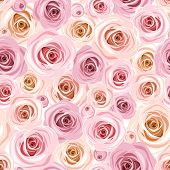 image of english rose  - Vector seamless pattern with pink roses and rose buds - JPG
