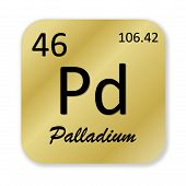 picture of palladium  - Black palladium element into golden square shape isolated in white background - JPG