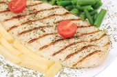 foto of pangasius  - close up of Pangasius fillet grilled with vegetables - JPG